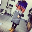 Long-sleeve Color Block Knit Midi Dress