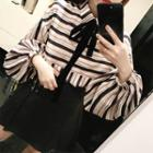 Balloon-sleeve Striped Blouse