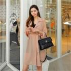 Open-front Chiffon Trench Coat With Sash