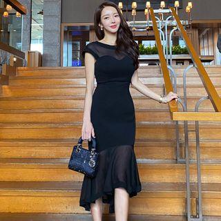 Sheer Panel Short-sleeve Midi Sheath Dress