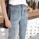 Washed Seam Front Cropped Jeans