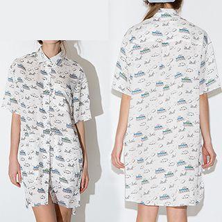 Printed Elbow Sleeve Shirt Dress