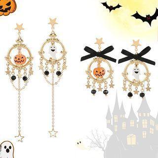 Halloween Ghost Pumpkin Asymmetrical Dangle Earring
