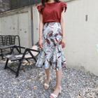 Band-waist Floral Print A-line Midi Skirt