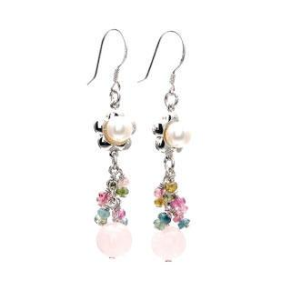 Pearl Tourmaline Rose Quartz Drop Earrings