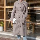 Single-breasted Belted Long Plaid Coat Beige - One Size