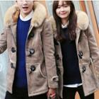 Couple Matching Furry Hooded Long Coat