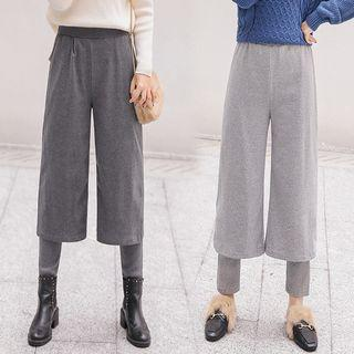 Legging Insert Crop Wide Leg Pants