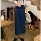 Denim Suspender Midi Dress Blue - One Size
