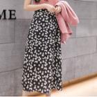 High-waist Floral Chiffon Midi Skirt