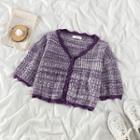 Short-sleeve Cropped Cardigan Purple - One Size