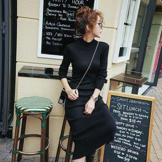 Mock Neck Midi Knit Dress