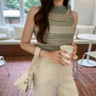Mock-neck Sleeveless Stripe Knit Top