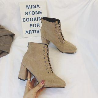 Velvet Block-heel Lace-up Ankle Boots