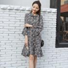 Ruffle-sleeve Patterned Bow-tied Chiffon Dress