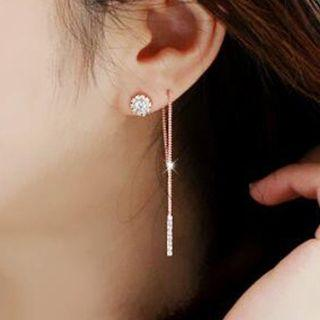 Set: Rhinestone Earring + Triangle Swing Earring + Threader Earring Earrings - Gold - One Size