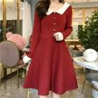 Two-tone Collared A-line Knit Dress