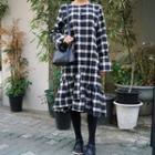 Long-sleeve Ruffle Plaid Dress