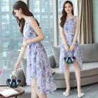 Sleeveless Lace Trim Printed Dip Back A-line Dress