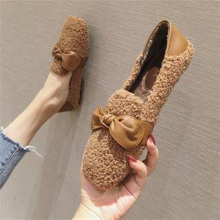 Faux Shearling Bow Accent Loafers