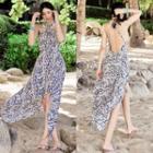 Patterned Open Back Sleeveless Chiffon Dress