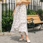 Asymmetric Floral Midi Skirt As Shown In Figure - One Size