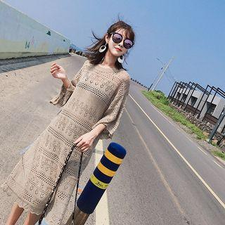 3/4-sleeve Perforated A-line Midi Knit Dress