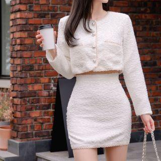 Set: Fleece Cropped Cardigan + Mini Skirt