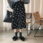 Dotted A-line Midi Knit Skirt Black - One Size