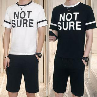 Set: Lettering Short-sleeve T-shirt + Drawstring Shorts
