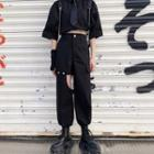 Cut-out Straight-cut Cargo Pants