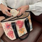 Flower Print Faux Leather Tote Bag