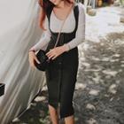 Buttoned Midi Suspender Skirt
