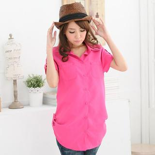 Ruched-side Tab-sleeve Long Blouse