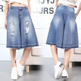 Distressed Washed Denim Culottes