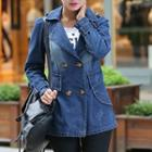 Notched-lapel Double-breasted Washed Denim Coat