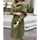 Snap-button Long Jacket With Sash
