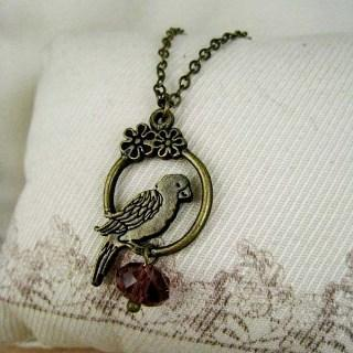 Copper Parrot Crystal Necklace Copper - One Size