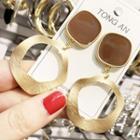 Alloy Hoop Dangle Earring Brown Square & Irregular Hoop - Gold - One Size