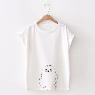 Short-sleeve Owl Print T-shirt