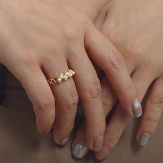 Beaded Ring 0229 - Gold - One Size