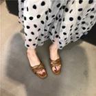 Faux Leather Woven Slide Sandals