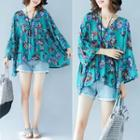 Long-sleeve Floral Print Chiffon Top As Shown In Figure - One Size