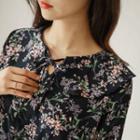 Beribboned Ruffled Floral Midi Dress