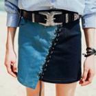 Patchwork Asymmetric Denim Pencil Skirt