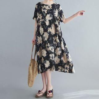 Elbow-sleeve Floral Print Dress Black - One Size