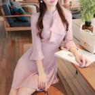 Tie-waist Ruffle-trim Chiffon Dress Pink - One Size