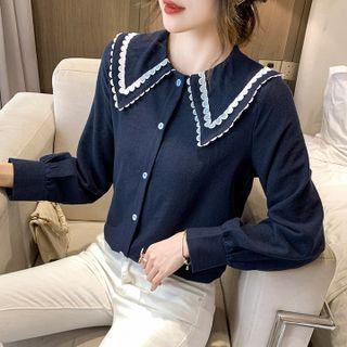 Long-sleeve Wide Collar Corduroy Blouse