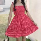 Dotted Strappy A-line Dress