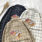 Long-sleeve Cat Print Plaid Shirt